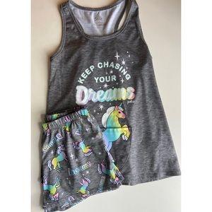 Justice Girls Unicorn Shorts + Tank Pajama Set 12
